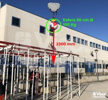 Test sistema de redes de seguridad bajo forjado Norma UNE 81652:2013