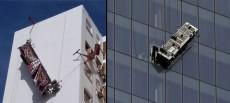 Rescatados tres trabajadores que quedaron colgando de un andamio